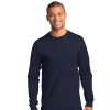 navy long sleeve polo model front