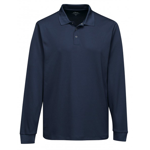 navy long sleeve polo front