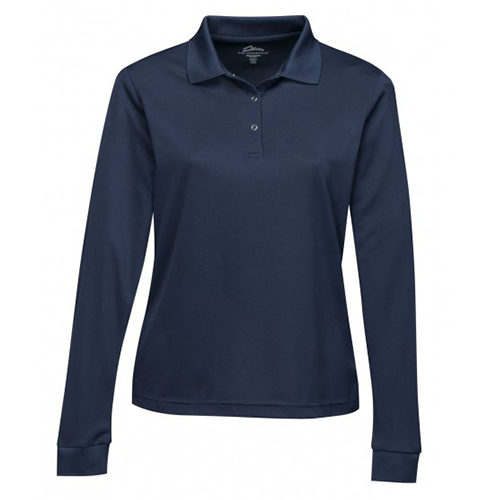 long sleeve women polo navy front