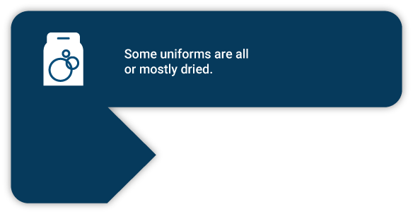 Some uniforms are all or mostly dried.