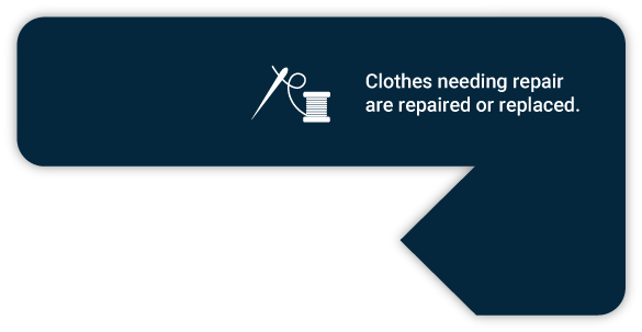 Clothes needing repair are repaired or replaced.