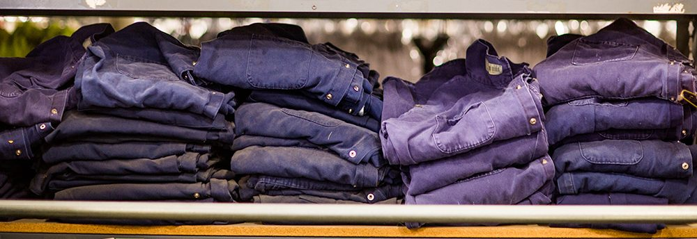 folded denim on shelf